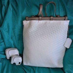 ARBONNE Basket Weave Drawstring Backpack white bag